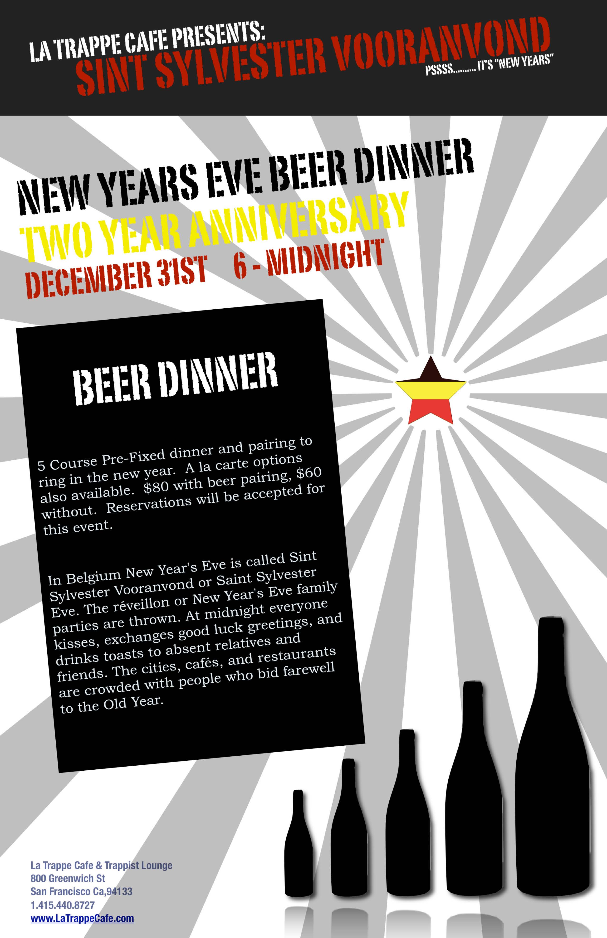 New Years Eve Beer Dinner   La Trappe Cafe