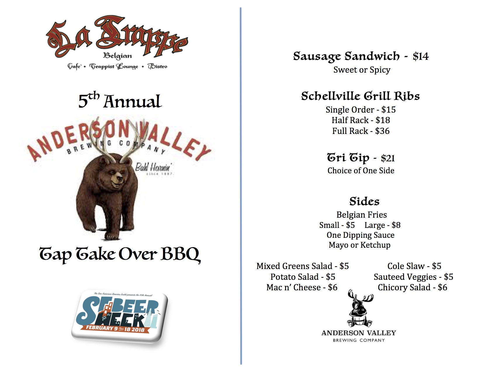 ANDERSON VALLEY TAP TAKEOVER BBQ – Belgian Bistro & Trappist Lounge