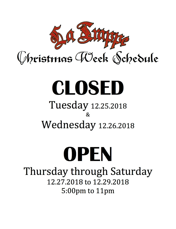 Christmas Week Schedule