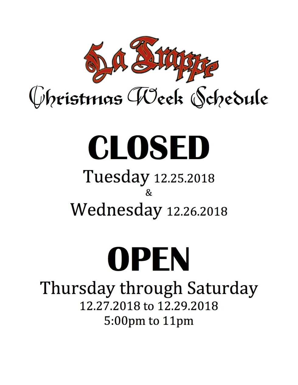 Christmas Week Schedule