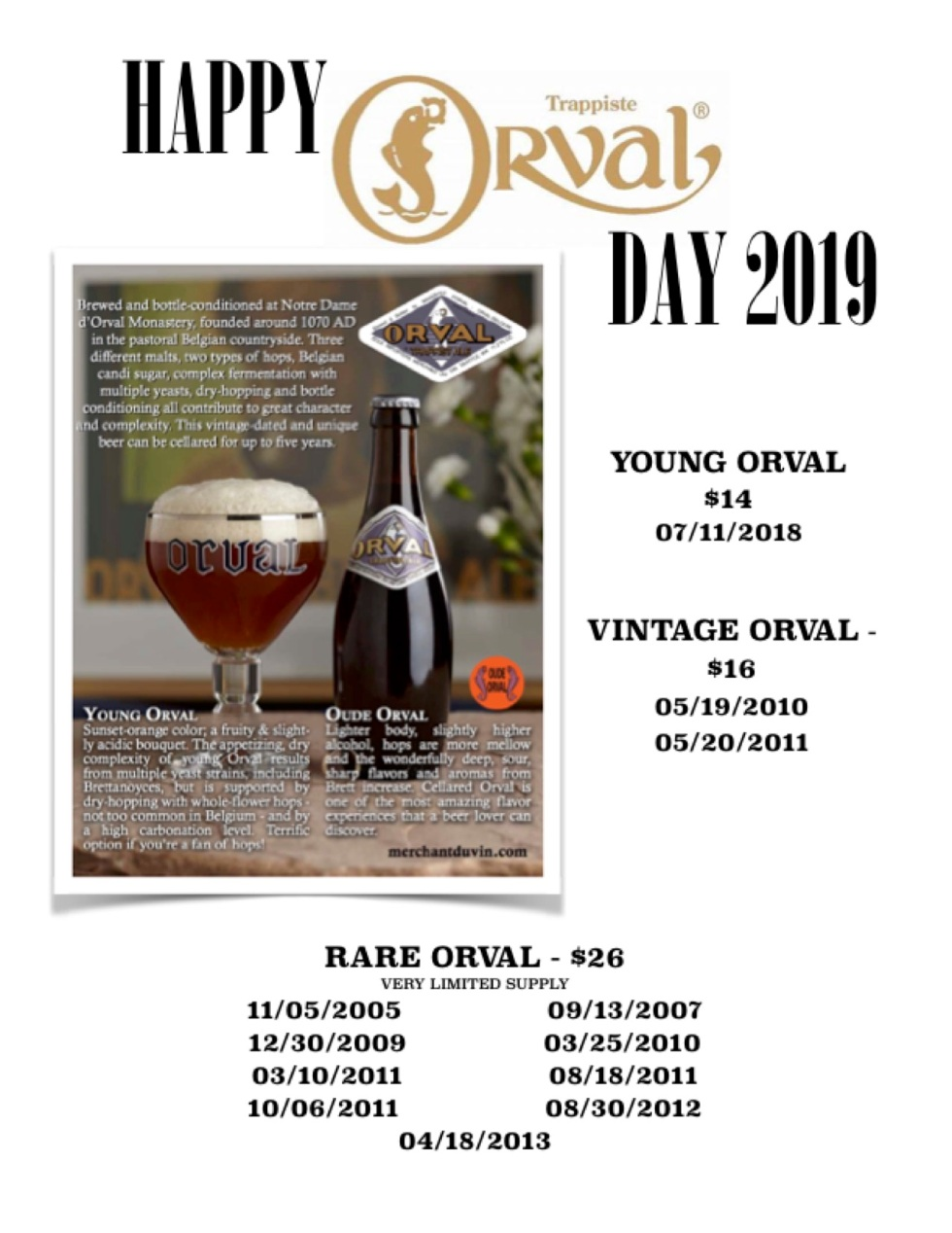 ORVAL DAY 2019 PRICE LIST